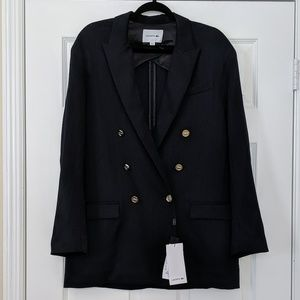 NWT Lacoste Navy Double Breasted Wool Blazer